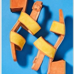 Anthro Paolo Mattei Colorblocked Heeled Sandals